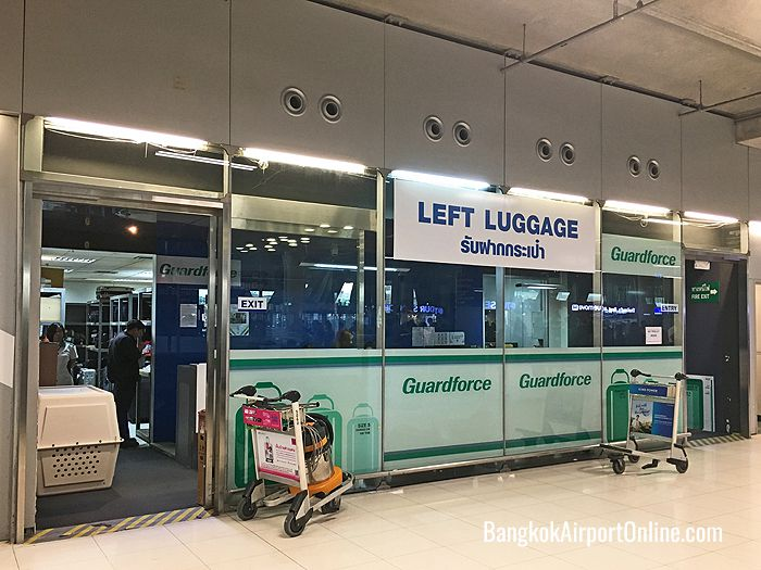 Left Luggage counter on Arrivals level at Bangkok Airport