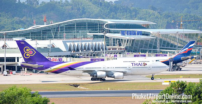 Thai Airways plane at Phuket International Airport