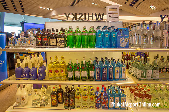 Vodka, gin, rum and liquors at Phuket Airport Duty Free