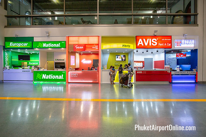 Car rental counters at the Phuket Airport International Terminal