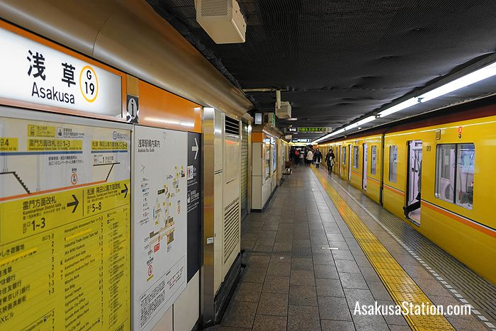 A Ginza Line subway train at Asakusa Station