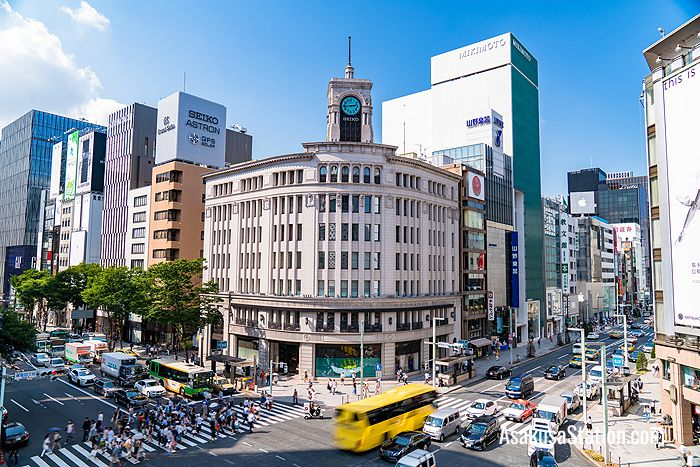 The Ginza 4-chome intersection is the center of Tokyo luxury shopping.