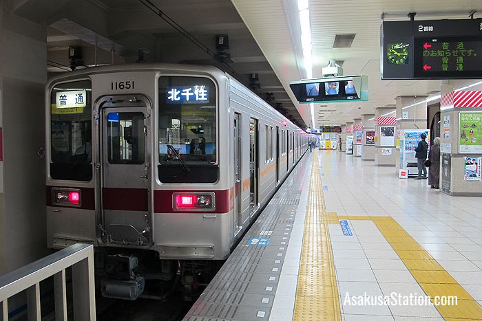 A local train bound for Kita-Senju Station at Tobu Asakusa Station