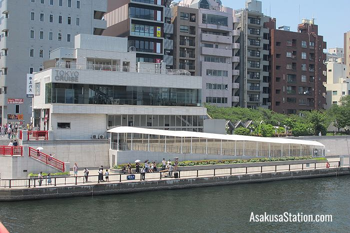 Tokyo Cruise Asakusa Pier viewed from the Sumida River