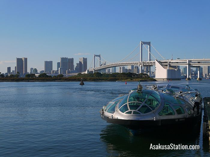 Himiko at Odaiba seaside park in front of the Rainbow bridge