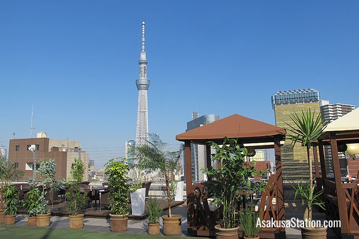 The rooftop terrace with a view of Tokyo Skytree