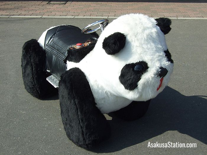 Take a ride on a panda car!
