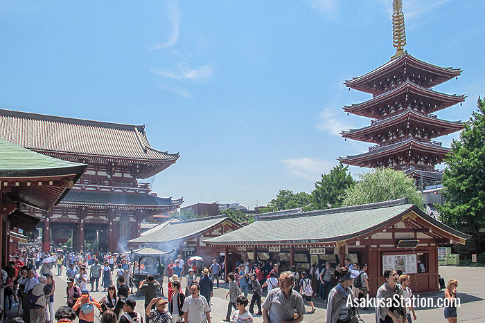 A view of Sensoji's Five-storied Pagoda and Hozomon Gate