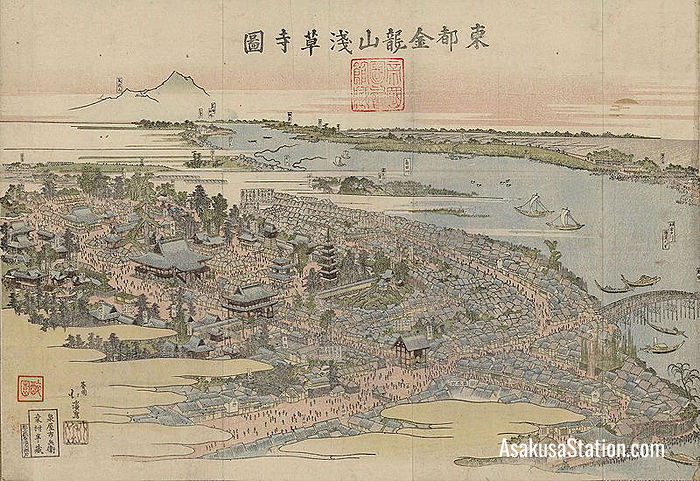 A print by Totoya Hokkei shows Sensoji Temple in 1820 (Public Domain)