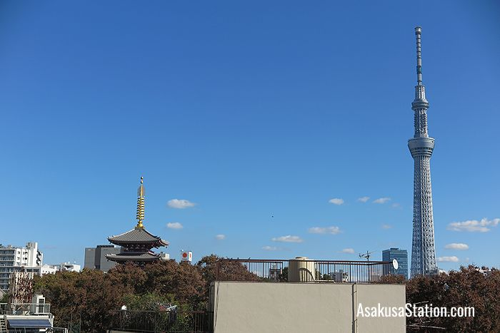 A view of the Asakusa skyline and Tokyo Skytree from the 4th floor of Marugoto Nippon