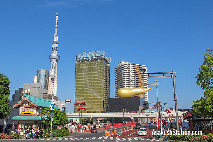 Tokyo Skytree and the golden Asahi Flame viewed from Asakusa