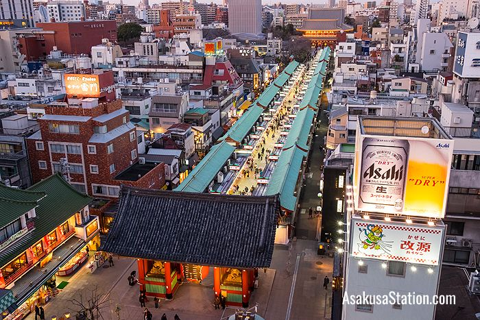 A bird's eye view of Asakusa's Nakamise shopping street