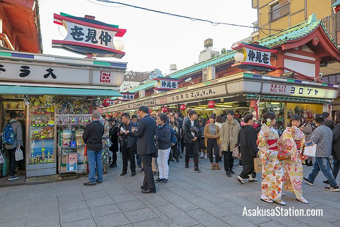 Nakamise can get very crowded during the day