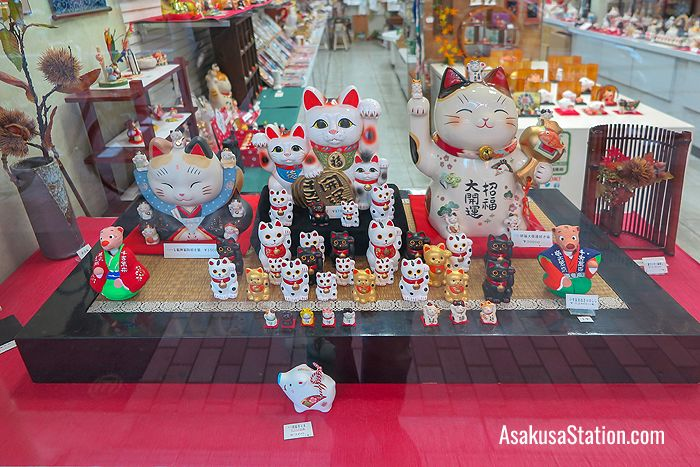 A selection of maneki neko (beckoning cats)