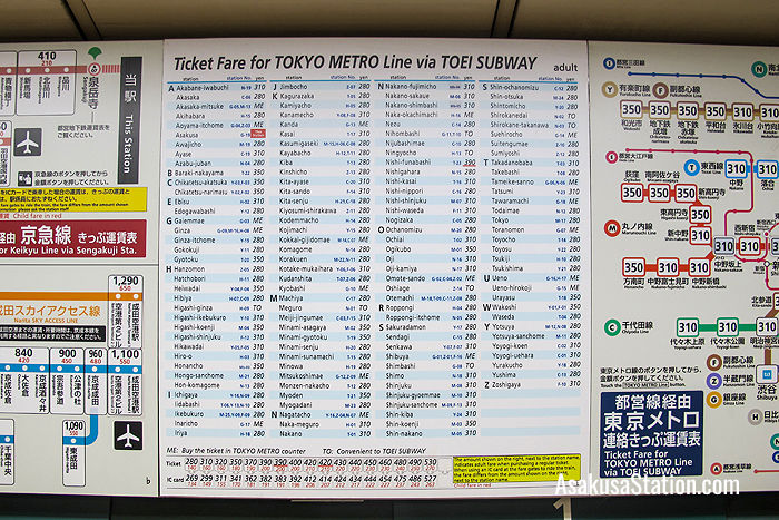 Ticket fares for Tokyo Metro destinations via the Toei Subway