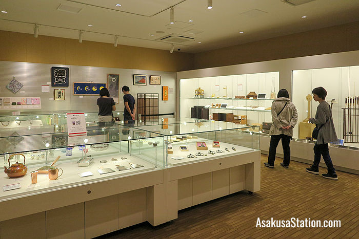 The 2nd floor display area at the Edo Taito Traditional Crafts Center