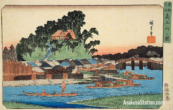 View of Matsuchiyama by Utagawa Hiroshige, circa 1844; Source: National Diet Library; Public Domain
