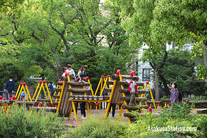 A children's playground in the west side of the park is a great place for kids to let off steam