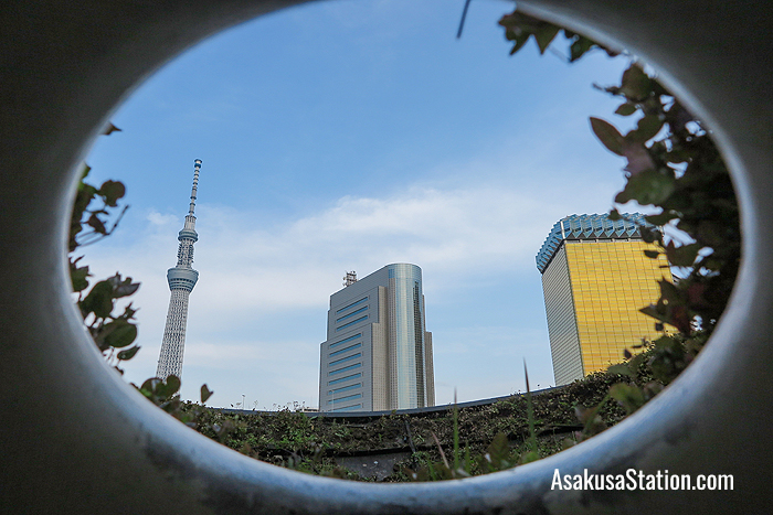 A view through the artwork of the Tokyo skyline