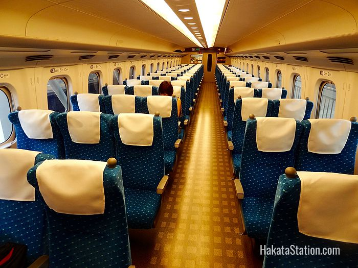 Interior view of a regular carriage on the Sanyo Shinkansen bullet train