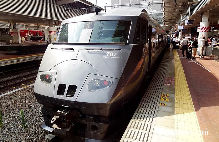 A 787 Limited Express train, which is used in Ariake services, stops at Hakata Station