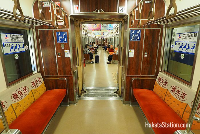 Inside a car on the Fukuoka subway's Kuko Line