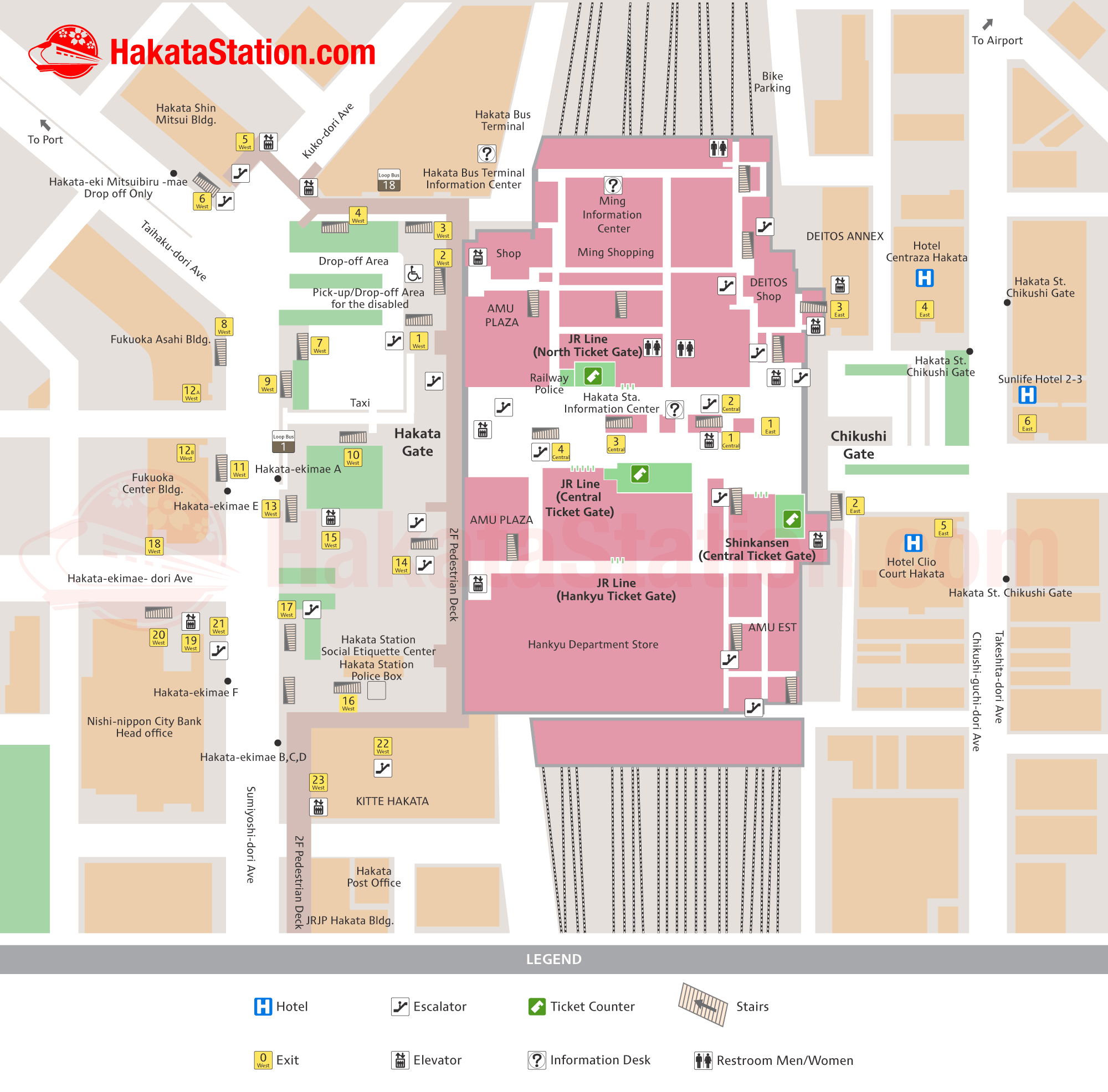 Hakata Station Map Finding Your Way Hakata Station