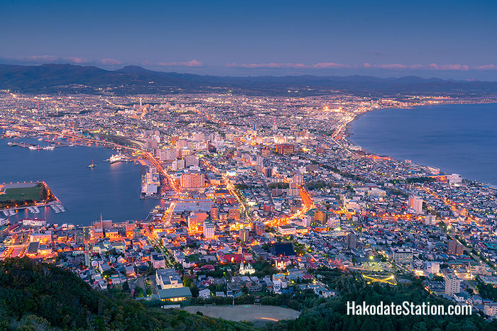 Nighttime view of Hakodate city from Mt. Hakodate