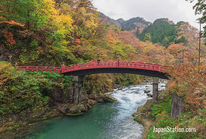 Shinkyo Bridge during autumn in Nikko
