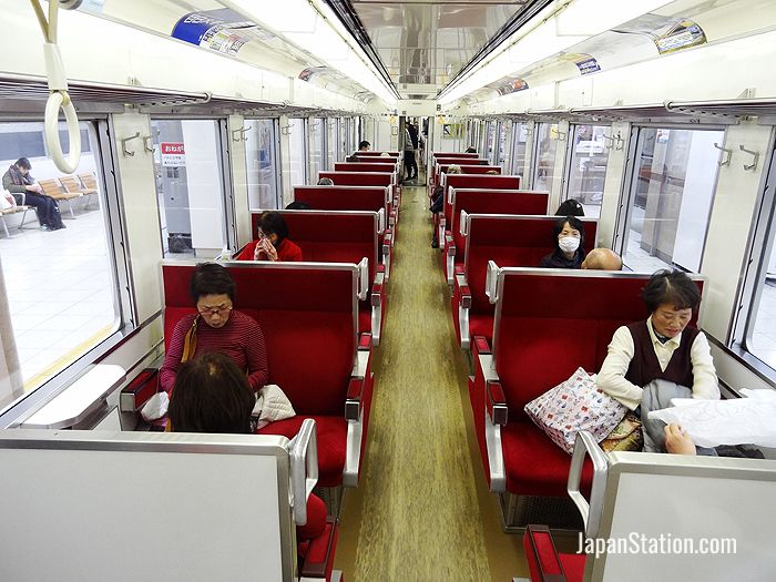 Inside a rapid service bound for Tobu Nikko Station waiting to depart at Tobu Asakusa Station