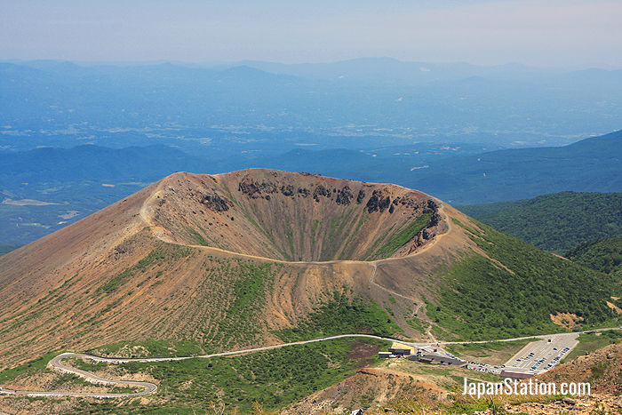 Fukushima Prefecture's Mt. Azuma-kofuji is an active volcano known for its intact crater and many onsen hot springs nearby