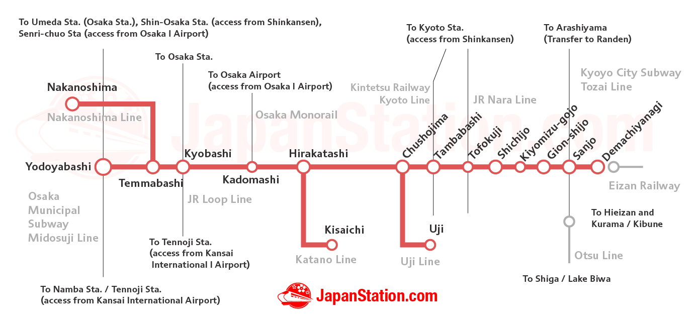 The Keihan Main Line Electric Railway Kyoto Station Japan Et Ticket Tower Adult Route Map