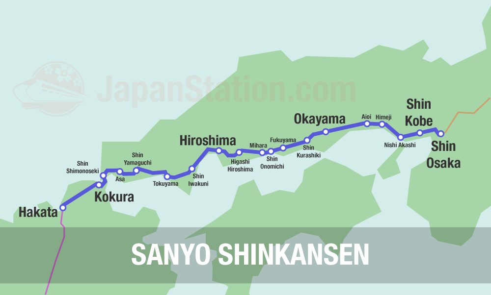 Sanyo Shikansen Map
