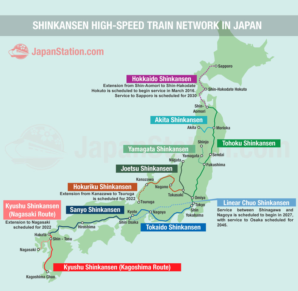 Shinkansen high-speed train network in Japan map