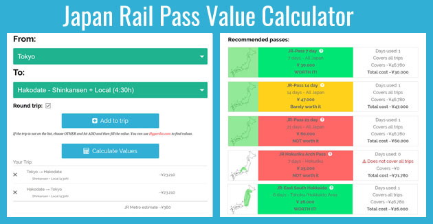 Japan Rail Pass Value Calculator