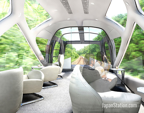 The observation cars feature wall to ceiling windows for stunning panoramic views
