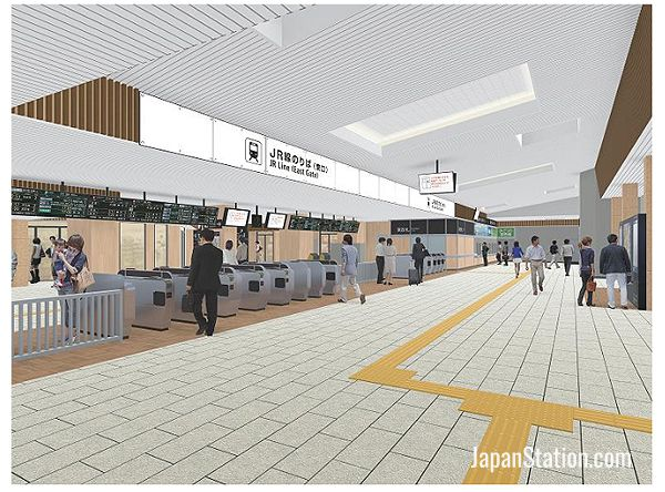 A design illustration of the renovated ticket gate area