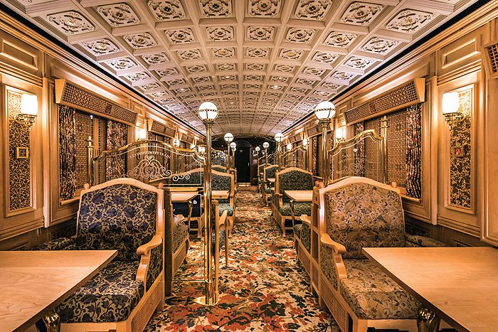 The interior of the first carriage