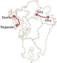A map of the Aru Ressha's two courses