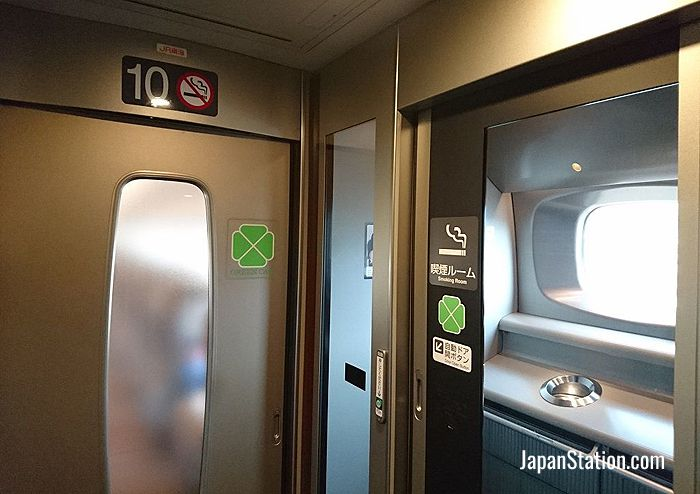 Smoking room on N700 series shinkansen train