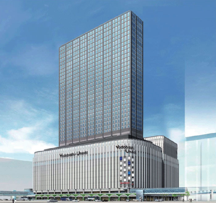 A design image of the Yodobashi Umeda Tower