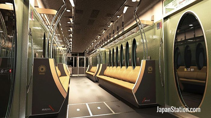 Eizan Electric Railway's new Hiei train interior