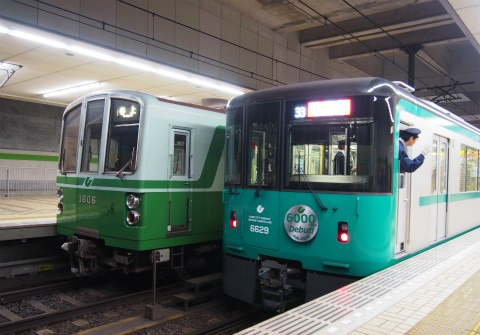 The new #6000 series train (right) beside a #1000 series train (left). The #1000 was first introduced in 1977