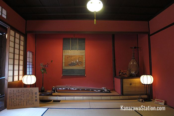 Formerly a performance space this room is now used to display traditional musical instruments such as the three stringed shamisen, and the biwa lute