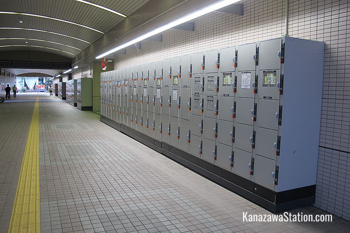 These lockers are outside the south side of the station building