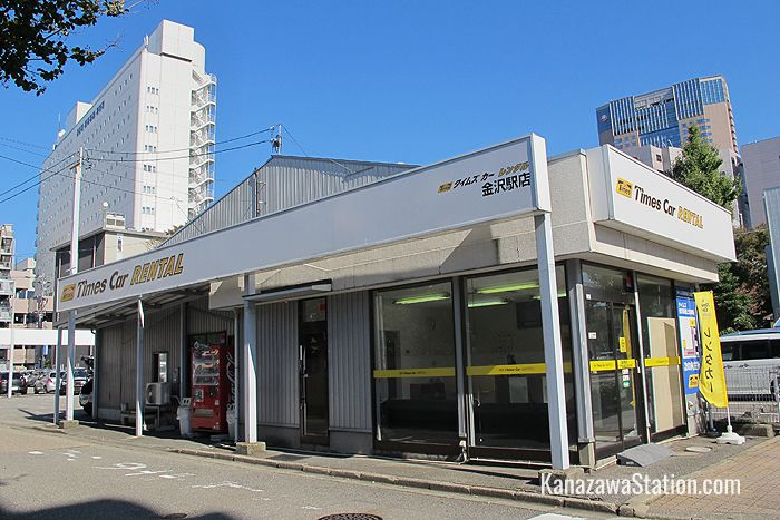 Times Car Rental can be found behind the Hiraoka Shrine on the station's west side