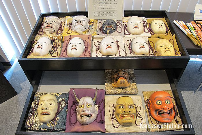 A display of Noh masks