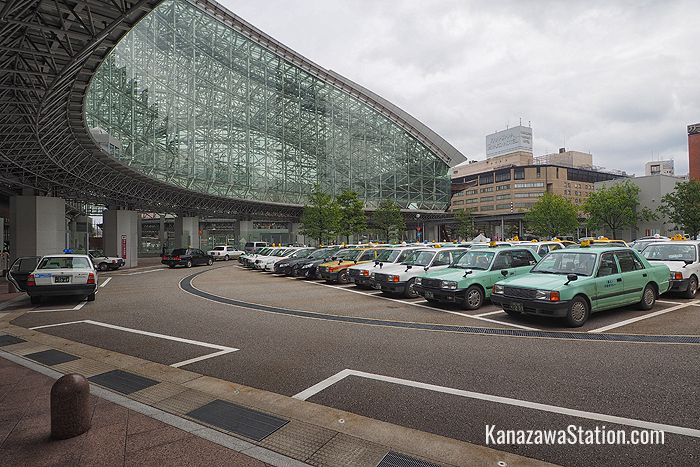The taxi rank at Kanazawa Station's east exit