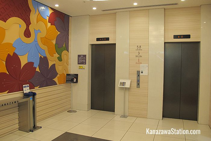 The hotel elevators at the 1st floor entrance