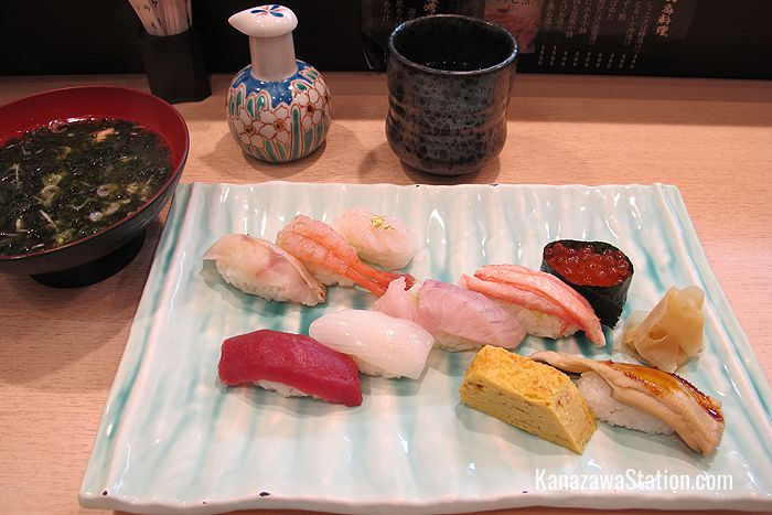 A lunch time sushi set at the Kanazawa Station branch of Maimon Sushi will cost you 1,280 yen + tax